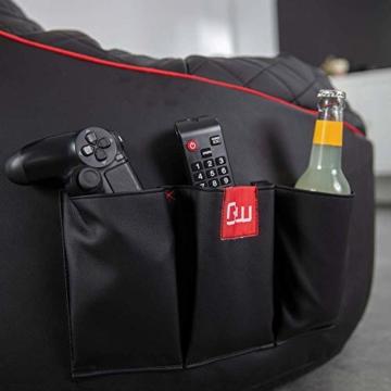 GAMEWAREZ Crimson Hurricane 2.0 Gaming Sitzsack, Made in Germany, für PS4, XBOX360, XboxOne, Nintendo DS, Nintendo Switch, Smartphone. Schwarzes Kunstleder mit rotem Keder, Tasche und Headsethalterung - 6