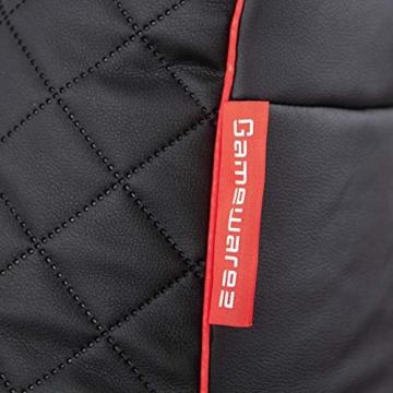 GAMEWAREZ Crimson Hurricane 2.0 Gaming Sitzsack, Made in Germany, für PS4, XBOX360, XboxOne, Nintendo DS, Nintendo Switch, Smartphone. Schwarzes Kunstleder mit rotem Keder, Tasche und Headsethalterung - 8