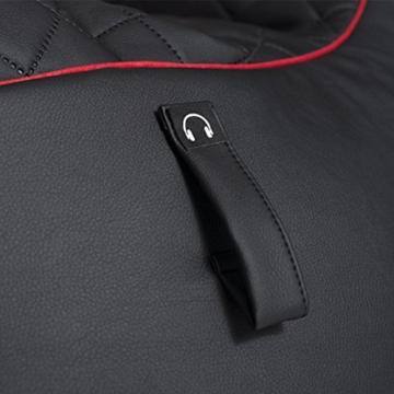 GAMEWAREZ Crimson Hurricane 2.0 Gaming Sitzsack, Made in Germany, für PS4, XBOX360, XboxOne, Nintendo DS, Nintendo Switch, Smartphone. Schwarzes Kunstleder mit rotem Keder, Tasche und Headsethalterung - 10