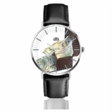 Geld und Geldkassette Big Face Watch für Männer, Wasserdichtigkeit Armbanduhren in Lederarmband Edelstahl Quarzuhr - 1