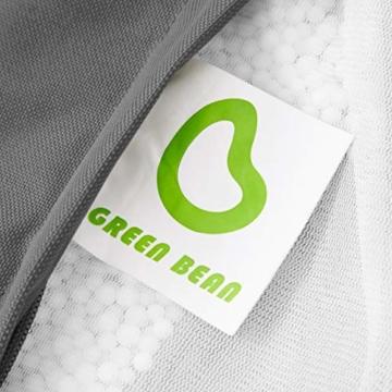 Green Bean © Cozy Beanbag, Gaming Sitzsack Sessel 80x70x90 cm, 230 Liter EPS Perlen Füllung, Indoor Gamingstuhl & Outdoor Gamer Sitzkissen, Bean Bag Lounge Chair für Kinder & Erwachsene, Grau - 3