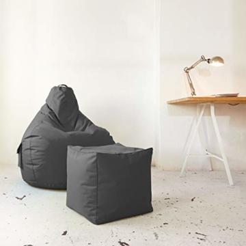 Green Bean © Cozy Beanbag, Gaming Sitzsack Sessel 80x70x90 cm, 230 Liter EPS Perlen Füllung, Indoor Gamingstuhl & Outdoor Gamer Sitzkissen, Bean Bag Lounge Chair für Kinder & Erwachsene, Grau - 4