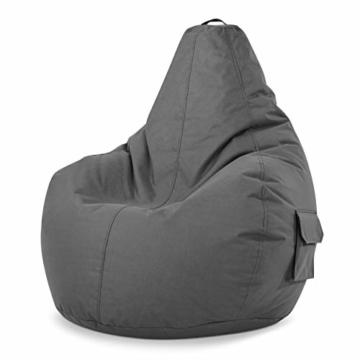 Green Bean © Cozy Beanbag, Gaming Sitzsack Sessel 80x70x90 cm, 230 Liter EPS Perlen Füllung, Indoor Gamingstuhl & Outdoor Gamer Sitzkissen, Bean Bag Lounge Chair für Kinder & Erwachsene, Grau - 1