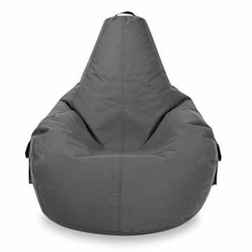 Green Bean © Cozy Beanbag, Gaming Sitzsack Sessel 80x70x90 cm, 230 Liter EPS Perlen Füllung, Indoor Gamingstuhl & Outdoor Gamer Sitzkissen, Bean Bag Lounge Chair für Kinder & Erwachsene, Grau - 5