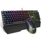 havit Mechanische Gaming Tastatur und Maus Set, RGB Hintergrundbeleuchtung QWERTZ (DE-Layout), Aluminiumoberfläche und Handballenauflage, 4800DPI RGB Wired Gaming Maus mit 7 Tasten (Schwarz) - 1