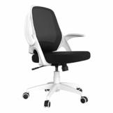 Hbada Bürostuhl Ergonomischer Schreibtischstuhl Drehstuhl mit klappbaren Armlehnen Mesh Computerstuhl Arbeitsstuhl leicht Stuhl Weiß - 1