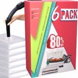 HELLOCAM vakuumbeutel für Kleidung Bettdecken Aufbewahrungsbeutel Wiederverwendbar (6er Set) 4 Groß 80 * 60cm+ 2 XXL 100 * 80cm schützt Ihre Kleidung Spart bis 80% Platz mit Staubsauger - 1