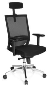 hjh OFFICE 657260 Profi Bürostuhl PORTO MAX HIGH Stoff/Netz Schwarz Bürosessel ergonomisch, hohe Rückenlehne - 1
