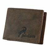 Hodalump Echt-Leder Geldbörse • Geldbeutel für Damen und Herren mit RFID-Schutz • Portmonee inkl. Geschenkverpackung • Farbe: Braun mit Steinbock & Hodalump Prägung - 1