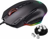 Holife RGB Gaming Maus Kabel, 【Advanced PMW3327 Gaming Sensor】 mit 10 programmierbaren Tasten, anpassbaren RGB-Lichtern und -Gewichten, Perfekte Gaming-Computermaus für PC, Laptop, Computer - 1