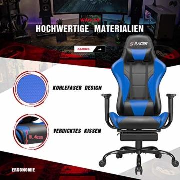 Homall Gaming Stuhl Racing Bürostuhl Ergonomischer Schreibtischstuhl mit Fußstütze PC Computerstuhl Gamer Drehstuhl mit Kopfstütze und Lendenkissen (Blau) - 2