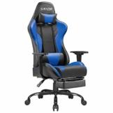 Homall Gaming Stuhl Racing Bürostuhl Ergonomischer Schreibtischstuhl mit Fußstütze PC Computerstuhl Gamer Drehstuhl mit Kopfstütze und Lendenkissen (Blau) - 1