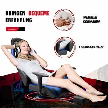 Homall Gaming Stuhl Racing Bürostuhl Ergonomischer Schreibtischstuhl mit Fußstütze PC Computerstuhl Gamer Drehstuhl mit Kopfstütze und Lendenkissen (Blau) - 3