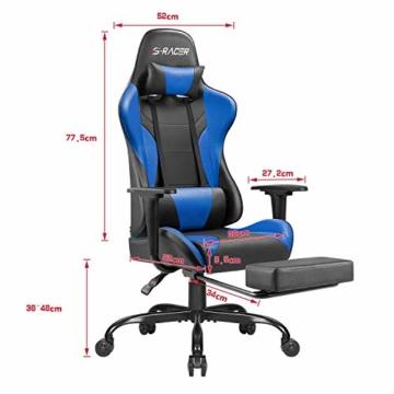 Homall Gaming Stuhl Racing Bürostuhl Ergonomischer Schreibtischstuhl mit Fußstütze PC Computerstuhl Gamer Drehstuhl mit Kopfstütze und Lendenkissen (Blau) - 4