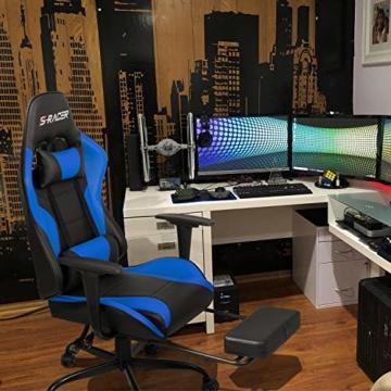 Homall Gaming Stuhl Racing Bürostuhl Ergonomischer Schreibtischstuhl mit Fußstütze PC Computerstuhl Gamer Drehstuhl mit Kopfstütze und Lendenkissen (Blau) - 6