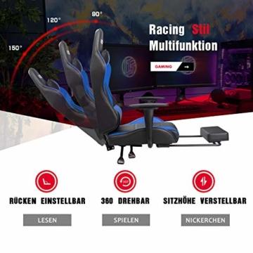Homall Gaming Stuhl Racing Bürostuhl Ergonomischer Schreibtischstuhl mit Fußstütze PC Computerstuhl Gamer Drehstuhl mit Kopfstütze und Lendenkissen (Blau) - 7
