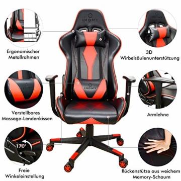 iHomy Multifunktionaler Gaming Stuhl Großer tragender Gaming-Stuhl bis 200KG Premium Schreibtischstuhl Bürostuhl Gamer Ergonomischer Stuhl mit Einstellbarer Neigungswinkel bis 180° - 2