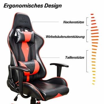 iHomy Multifunktionaler Gaming Stuhl Großer tragender Gaming-Stuhl bis 200KG Premium Schreibtischstuhl Bürostuhl Gamer Ergonomischer Stuhl mit Einstellbarer Neigungswinkel bis 180° - 3