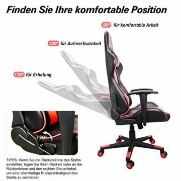 iHomy Multifunktionaler Gaming Stuhl Großer tragender Gaming-Stuhl bis 200KG Premium Schreibtischstuhl Bürostuhl Gamer Ergonomischer Stuhl mit Einstellbarer Neigungswinkel bis 180° - 4