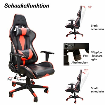 iHomy Multifunktionaler Gaming Stuhl Großer tragender Gaming-Stuhl bis 200KG Premium Schreibtischstuhl Bürostuhl Gamer Ergonomischer Stuhl mit Einstellbarer Neigungswinkel bis 180° - 5