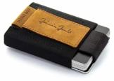 JAIMIE JACOBS Nano Boy Mini Wallet, Mini Geldbörse aus Textil, Kleiner Geldbeutel, Slim Wallet mit Zugband Kartenhalter, Mini-Portmonee, Kartenetui für Herren und Damen (Büffelleder Hellbraun) - 1