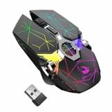 Kabellose Gaming-Maus, RGB, mehrfarbig, wiederaufladbar, leise, Computerzubehör, für zu Hause, Büro, Spiele, 7 Tasten, mehrere Funktionen (schwarz) - 1