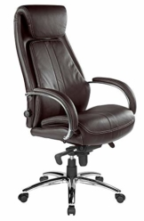 Kijng Chefsessel Throne - Braun Echtleder - Ergonomischer Bürostuhl Schreibtischstuhl Drehstuhl Sessel Stuhl - 1