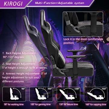 Kirogi Gaming Stuhl Ergonomischer Bürostuhl, Gamer PC Stuhl mit Lendenwirbelstütze, 160kg Verstellbarer Gaming Sessel für Erwachsene, großer und hoher schreibtischstuhl Kohlefaser Leder.Schwarz-BS - 2