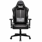 Kirogi Gaming Stuhl Ergonomischer Bürostuhl, Gamer PC Stuhl mit Lendenwirbelstütze, 160kg Verstellbarer Gaming Sessel für Erwachsene, großer und hoher schreibtischstuhl Kohlefaser Leder.Schwarz-BS - 1