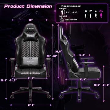 Kirogi Gaming Stuhl Ergonomischer Bürostuhl, Gamer PC Stuhl mit Lendenwirbelstütze, 160kg Verstellbarer Gaming Sessel für Erwachsene, großer und hoher schreibtischstuhl Kohlefaser Leder.Schwarz-BS - 3