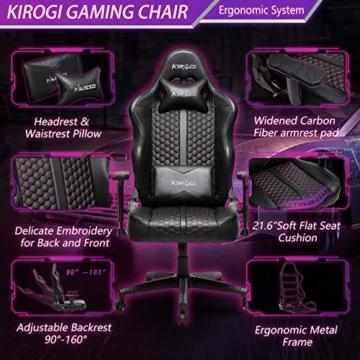 Kirogi Gaming Stuhl Ergonomischer Bürostuhl, Gamer PC Stuhl mit Lendenwirbelstütze, 160kg Verstellbarer Gaming Sessel für Erwachsene, großer und hoher schreibtischstuhl Kohlefaser Leder.Schwarz-BS - 4