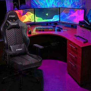 Kirogi Gaming Stuhl Ergonomischer Bürostuhl, Gamer PC Stuhl mit Lendenwirbelstütze, 160kg Verstellbarer Gaming Sessel für Erwachsene, großer und hoher schreibtischstuhl Kohlefaser Leder.Schwarz-BS - 5