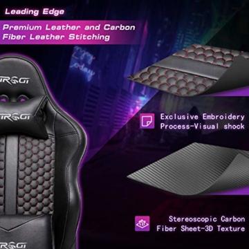 Kirogi Gaming Stuhl Ergonomischer Bürostuhl, Gamer PC Stuhl mit Lendenwirbelstütze, 160kg Verstellbarer Gaming Sessel für Erwachsene, großer und hoher schreibtischstuhl Kohlefaser Leder.Schwarz-BS - 6