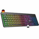 KLIM Light V2 Tastatur Kabellos QWERTZ + flach, ergonomisch, dezent, wasserresistent, leise + Beleuchtete Gaming Tastatur für PC Mac PS4 Xbox One + Integrierter Akku mit Langer Lebensdauer Neu 2020 - 1