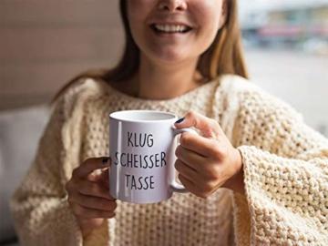 Lach - Produkte ''Klugscheisser Tasse'' - Kaffeetasse - Geschenk - Tasse - Trend Artikel - - 2