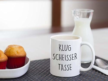 Lach - Produkte ''Klugscheisser Tasse'' - Kaffeetasse - Geschenk - Tasse - Trend Artikel - - 3
