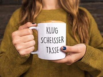 Lach - Produkte ''Klugscheisser Tasse'' - Kaffeetasse - Geschenk - Tasse - Trend Artikel - - 4