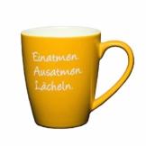 LePaJo Tasse mit Spruch: Einatmen Ausatmen Lächeln, Kaffeetasse mit Sprüchen gelb, das besondere Geschenk, Kaffeetasse - 1