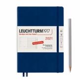 LEUCHTTURM1917 361826 Wochenkalender & Notizbuch 2021 Hardcover Medium (A5), 12 Monate, Marine, Deutsch - 1