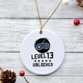 Lplpol 7,6 cm Keramik-Ornament, personalisierbar, Gamer, Geburtstag, Kind, Keramik, Ornament, Playstation, Geschenk, Teenager Ornamente, Gaming-Dekorationen, Weihnachtsbaum-Ornament, Urlaubs-Ornament - 1