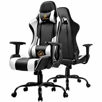 LUCKRACER Gaming Stuhl Bürostuhl Gamer Ergonomischer Stuhl die erneuerten befestigten stabileren Armlehnen Einteiliger Stahlrahmen Weiß - 2