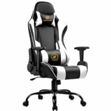 LUCKRACER Gaming Stuhl Bürostuhl Gamer Ergonomischer Stuhl die erneuerten befestigten stabileren Armlehnen Einteiliger Stahlrahmen Weiß - 1