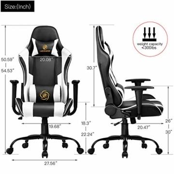 LUCKRACER Gaming Stuhl Bürostuhl Gamer Ergonomischer Stuhl die erneuerten befestigten stabileren Armlehnen Einteiliger Stahlrahmen Weiß - 3