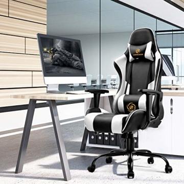 LUCKRACER Gaming Stuhl Bürostuhl Gamer Ergonomischer Stuhl die erneuerten befestigten stabileren Armlehnen Einteiliger Stahlrahmen Weiß - 5