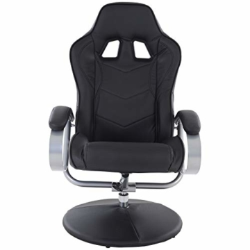 MACOShopde by MACO Möbel Raburg Gaming-Sessel Set Drift Sport + Hocker in SCHWARZ/SCHWARZ - Set aus Soft-Touch Kunstleder, ergonomisch geformt + kippbar, 360° drehbar - Tragkraft 120 kg - 4