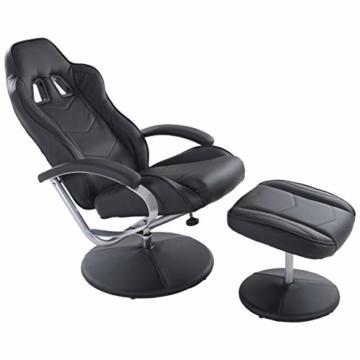 MACOShopde by MACO Möbel Raburg Gaming-Sessel Set Drift Sport + Hocker in SCHWARZ/SCHWARZ - Set aus Soft-Touch Kunstleder, ergonomisch geformt + kippbar, 360° drehbar - Tragkraft 120 kg - 1