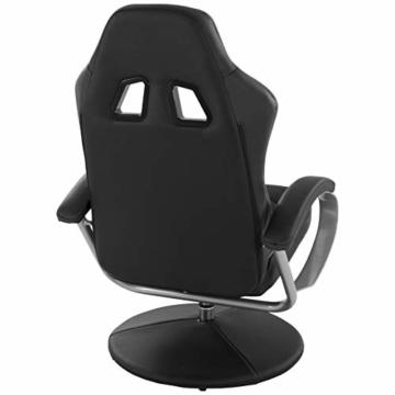 MACOShopde by MACO Möbel Raburg Gaming-Sessel Set Drift Sport + Hocker in SCHWARZ/SCHWARZ - Set aus Soft-Touch Kunstleder, ergonomisch geformt + kippbar, 360° drehbar - Tragkraft 120 kg - 5