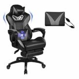 Massage Racing Gaming Stuhl Bürostuhl - Ergonomisches Sportsitz höhenverstellbarer Computerstuhl Chefsessel Schreibtischstuhl mit Kopfstützen, verstellbaren Armlehnen und Fußstützen (Grau) - 1