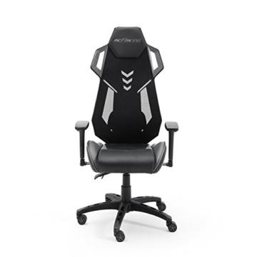MC Racing Gamingstuhl Schwarz Grau Gaming -Schreibtischstuhl höhenverstellbarer Bürostuhl bis 120 Kg belastbar - 1
