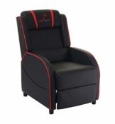 Mendler Fernsehsessel HWC-D68, HWC-Racer Relaxsessel TV-Sessel Gaming-Sessel, Kunstleder ~ schwarz/rot - 1